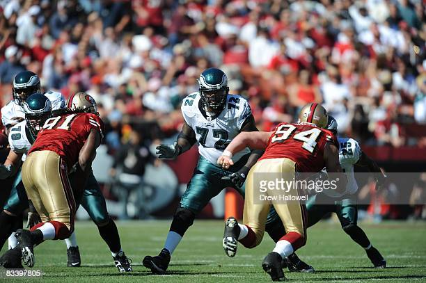 Tackle William Thomas of the Philadelphia Eagles blocks during the game against the San Francisco 49ers on October 12 2008 at Candlestick Park in San...