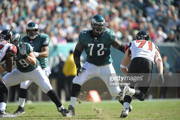 Tackle William Thomas of the Philadelphia Eagles blocks during the game against the Atlanta Falcons on October 26 2008 at Lincoln Financial Field in...