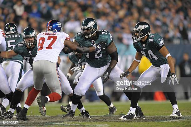 Tackle William Thomas of the Philadelphia Eagles blocks during the game against the New York Giants on November 9 2008 at Lincoln Financial Field in...