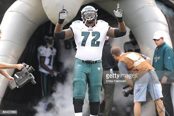 Tackle William Thomas of the Philadelphia Eagles enters the field before the game against the Washington Redskins on October 5 2008 at Lincoln...