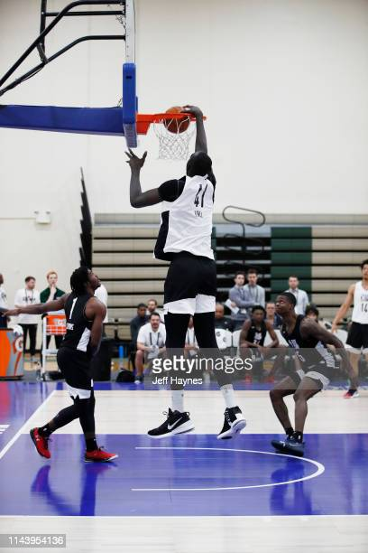 Tacko Fall dunks the ball during Day Two of the G League Elite Camp at the Quest Multisport sports training facility on May 13 2019 in Chicago...