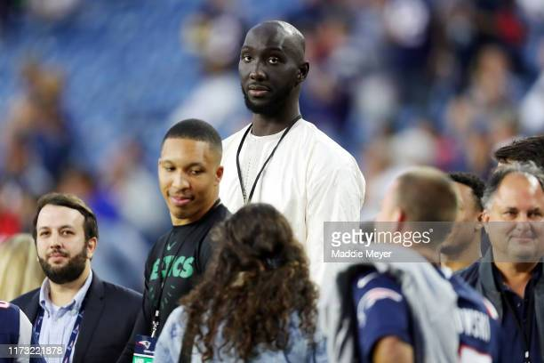 Tacko Fall of the Boston Celtics attends the game between the New England Patriots and the Pittsburgh Steelers at Gillette Stadium on September 08...