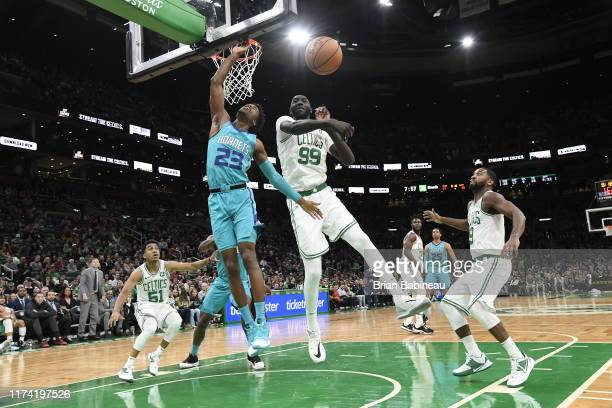Tacko Fall of the Boston Celtics blocks shot taken by Kobi Simmons of the Charlotte Hornets on October 6 2019 at the TD Garden in Boston...