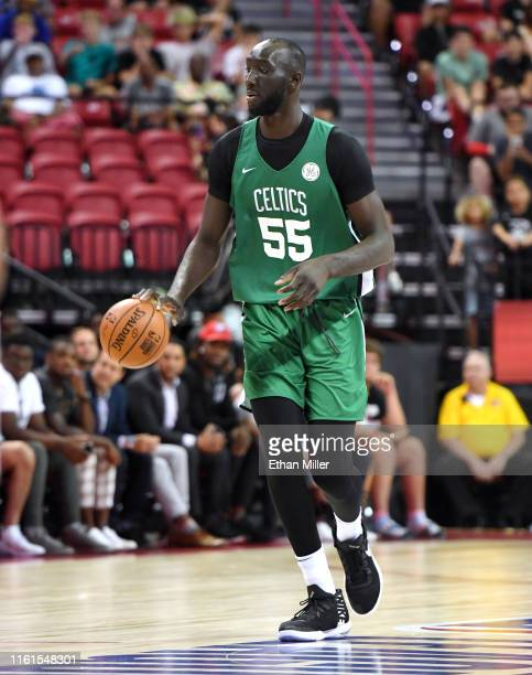 Tacko Fall of the Boston Celtics handles the ball against the Memphis Grizzlies during the 2019 NBA Summer League at the Thomas Mack Center on July...