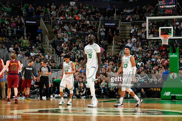 Tacko Fall of the Boston Celtics looks on against the Cleveland Cavaliers during a preseason game on October 13 2019 at the TD Garden in Boston...