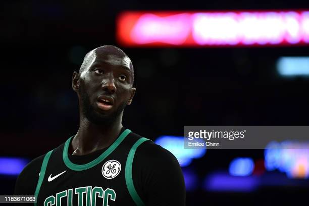 Tacko Fall of the Boston Celtics looks on during the second half of their game against the New York Knicks at Madison Square Garden on October 26...