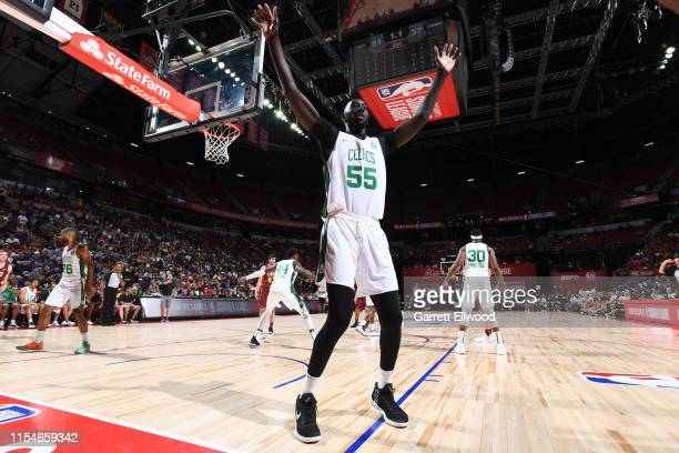 Tacko Fall of the Boston Celtics plays defense against the Cleveland Cavaliers on July 8 2019 at the Thomas Mack Center in Las Vegas Nevada NOTE TO...