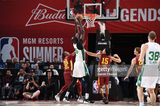 Tacko Fall of the Boston Celtics rebounds the ball against the Cleveland Cavaliers on July 8 2019 at the Thomas Mack Center in Las Vegas Nevada NOTE...