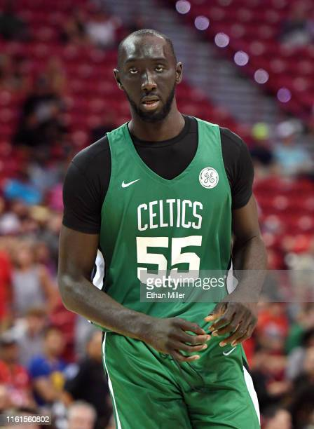 Tacko Fall of the Boston Celtics runs on the court during a game against the Memphis Grizzlies during the 2019 NBA Summer League at the Thomas Mack...