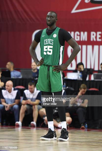 Tacko Fall of the Boston Celtics stands on the court during a game against the Memphis Grizzlies during the 2019 NBA Summer League at the Thomas Mack...