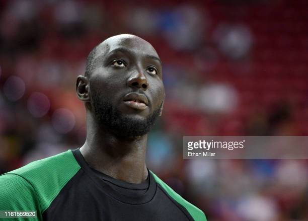 Tacko Fall of the Boston Celtics warms up before a game against the Memphis Grizzlies during the 2019 NBA Summer League at the Thomas Mack Center on...