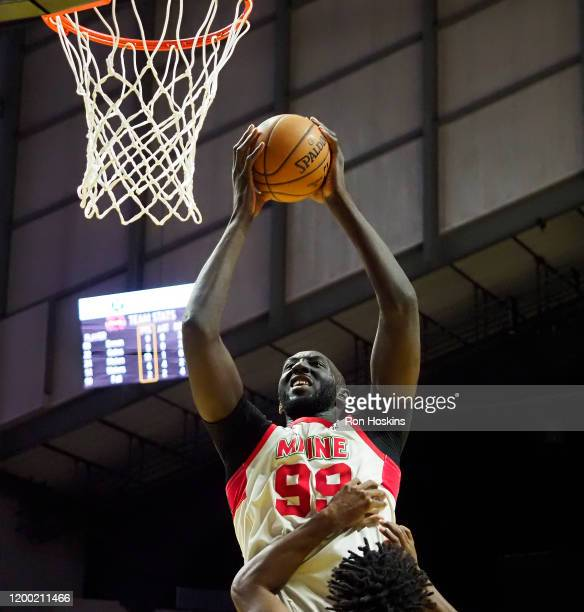 Tacko Fall of the Maine Red Claws rebounds against the Fort Wayne Mad Ants on February 11, 2020 at Memorial Coliseum in Fort Wayne, Indiana. NOTE TO...