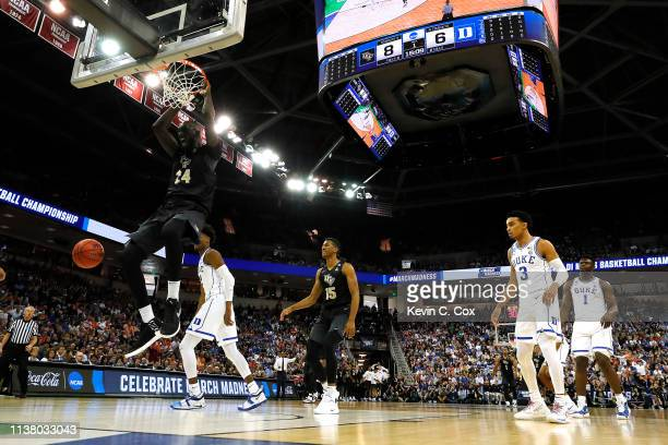 Tacko Fall of the UCF Knights dunks the ball against the Duke Blue Devils during the first half in the second round game of the 2019 NCAA Men's...