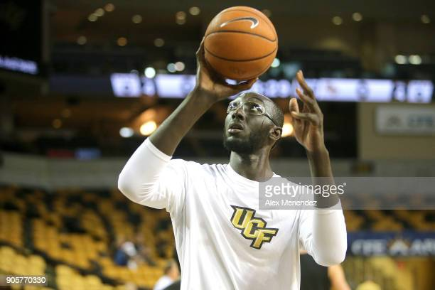 Tacko Fall of the UCF Knights warms up prior to a NCAA basketball game against the Cincinnati Bearcats at the CFE Arena on January 16 2018 in Orlando...