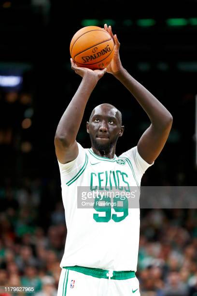 Tacko Fall shoots a free throw during the fourth quarter of the game against the Charlotte Hornets at TD Garden on October 06 2019 in Boston...