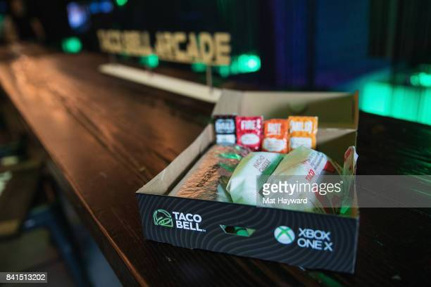 Taco Bell and Xbox partner to give fans the chance to win an Xbox One X with the purchase of a Steak Quesarito $5 Box at The Vude on August 31 2017...