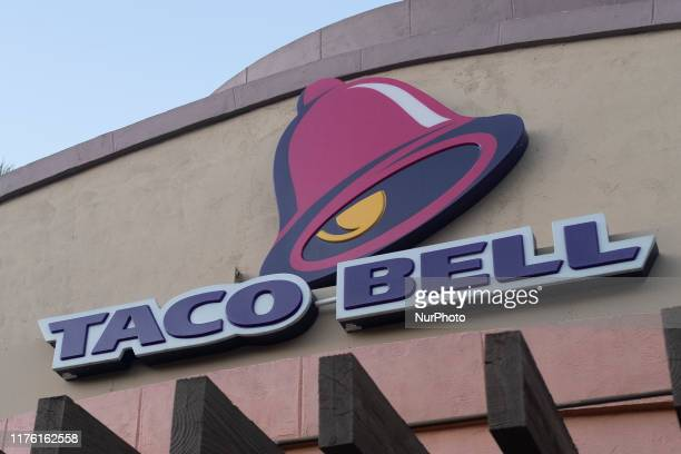 Taco Bell logo is seen in Mountain View California on October 15 2019 23 million pounds of beef have been recalled from Taco Bell restaurants because...