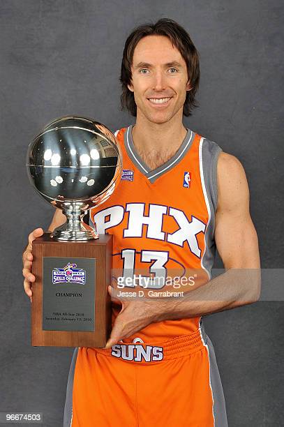 Taco Bell Skills Challenge winner Steve Nash of the Phoenix Suns poses with the trophy on AllStar Saturday Night as part of 2010 NBA AllStar Weekend...
