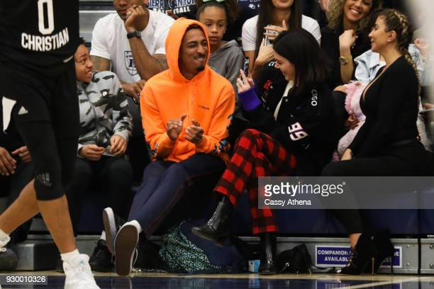 Taco Bennett Kendall Jenner and Larsa Younan watch courtside as Sierra Canyon plays Foothills Christian for the CIF Open Division Playoffs at Sierra...