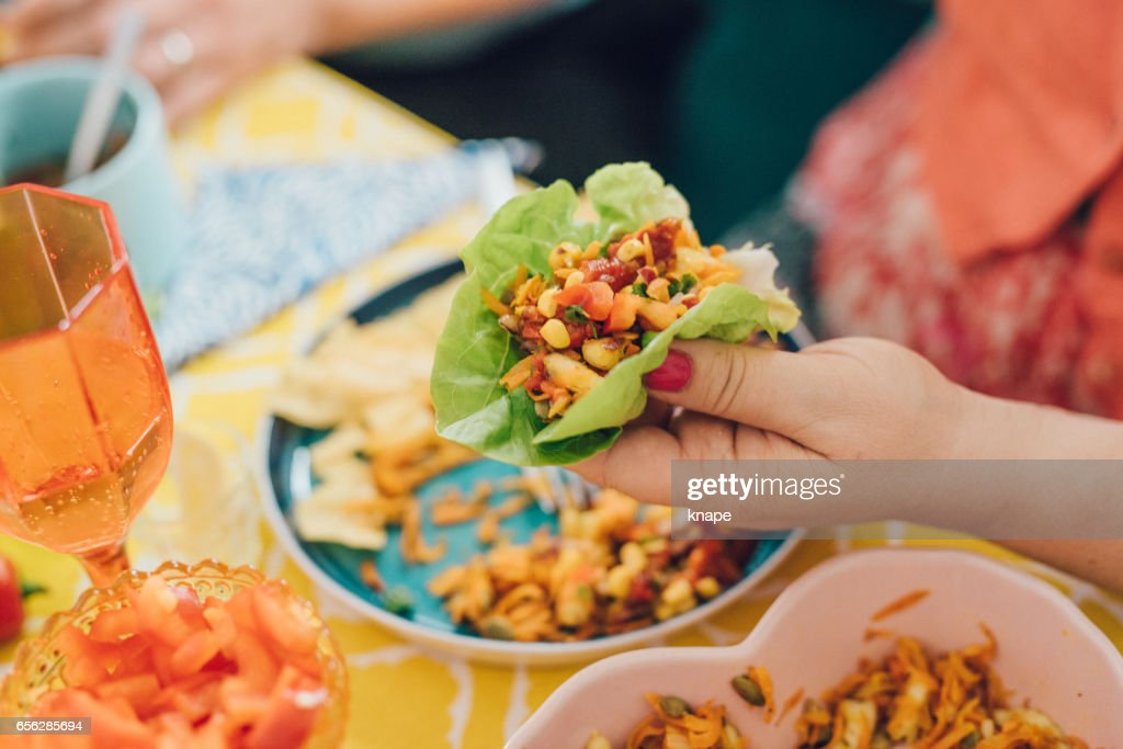 Taco Mexican tex med food lifestyles with friends eating dinner : Stock Photo