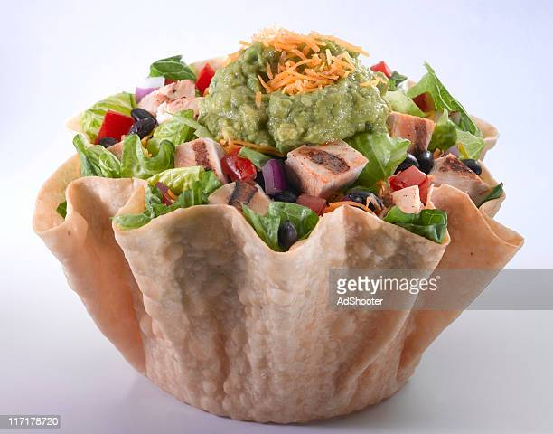 taco salad with grilled chicken - side salad stock pictures, royalty-free photos & images