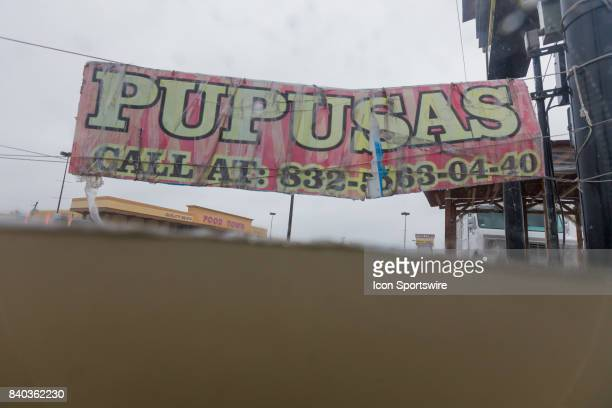 A taco truck selling Pupusas is underwater on the intersection at Wallisville and Uvalde during Hurricane Harvey Monday August 28 2017