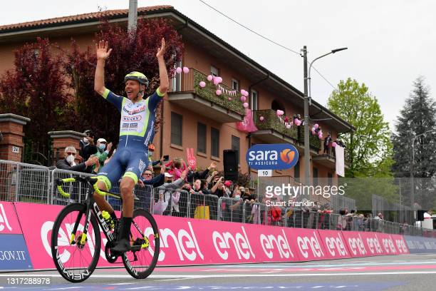 Taco Van Der Hoorn of Netherlands and Team Intermarché - Wanty - Gobert Matériaux celebrates at arrival during the 104th Giro d'Italia 2021, Stage 3...