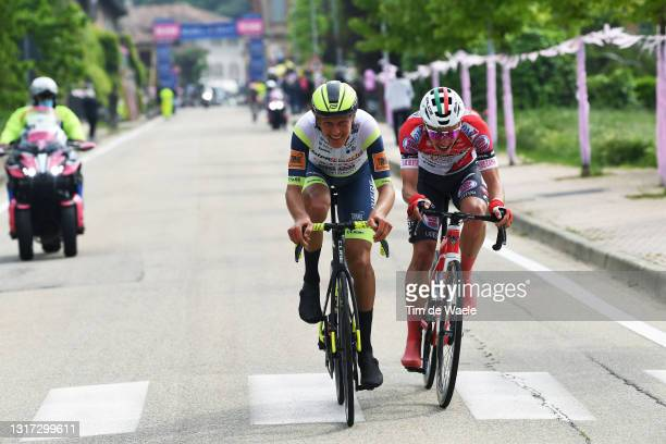 Taco Van Der Hoorn of Netherlands and Team Intermarché - Wanty - Gobert Matériaux & Simon Pellaud of Switzerland and Team Androni Giocattoli -...