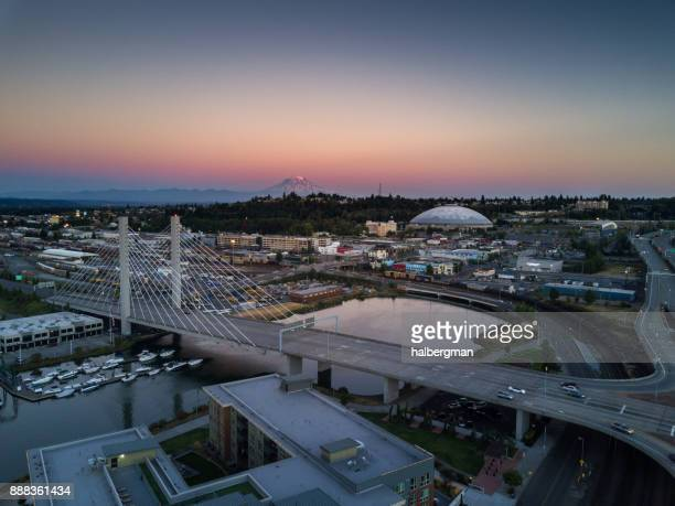 tacoma at sunset - aerial view - washington state stock pictures, royalty-free photos & images