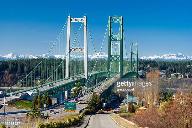 tacoma narrows bridge in washington state - washington state stock pictures, royalty-free photos & images