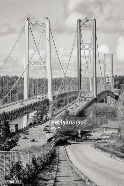 tacoma narrows bridge - collapsing stock pictures, royalty-free photos & images