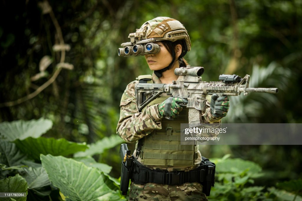 Tactical military airsoft soldiers in jungle : Stock Photo