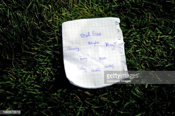 tactical note of coach Ronald Koeman of Holland during the UEFA Nations league match between Germany v Holland at the Veltins Arena on November 19...