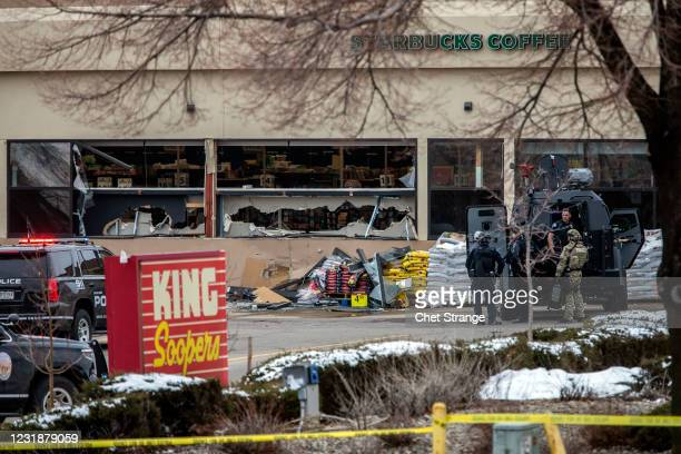 Tactical police units respond to the scene of a King Soopers grocery store after a shooting on March 22, 2021 in Boulder, Colorado. Dozens of police...