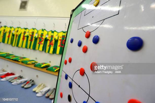 Tactics board in-front of players shirts hanging in the away dressing room prior to the Sky Bet Championship match between Sheffield Wednesday and...