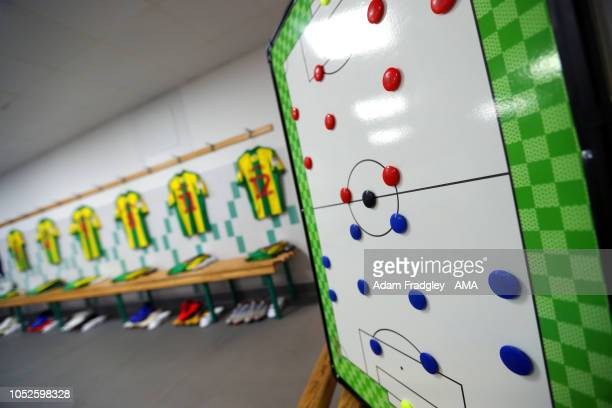 Tactics magnet board inside the away dressing room prior to the Sky Bet Championship match between Wigan Athletic and West Bromwich Albion at DW...