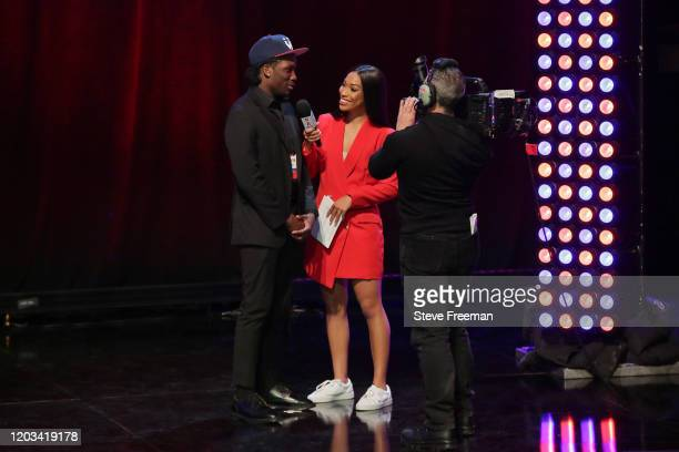 Tactuk talks with Autumn Johnson during the NBA 2K League Draft on February 22 2020 at Terminal 5 in New York New York NOTE TO USER User expressly...
