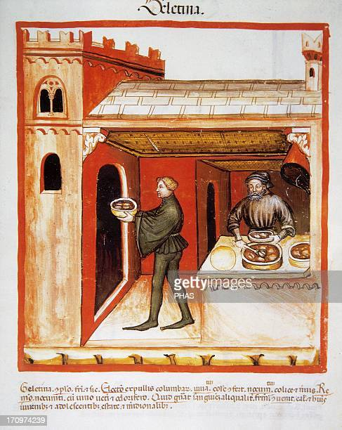 Tacuinum Sanitatis 14th century Medieval handbook of health Meat aspic Miniature Fol 76 r