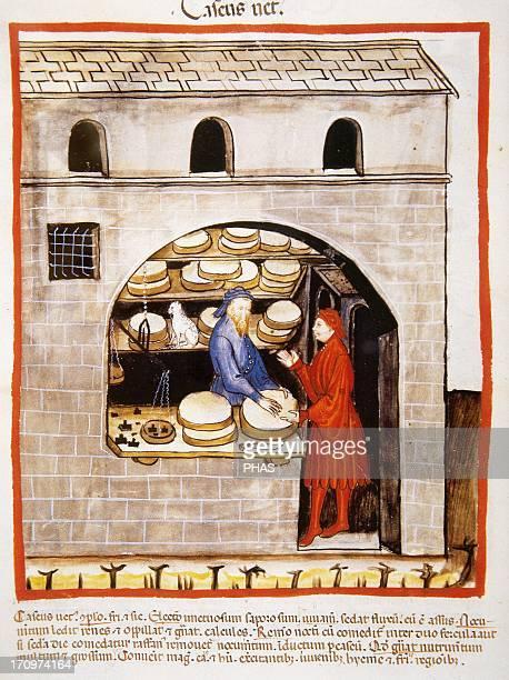 Tacuinum Sanitatis 14th century Medieval handbook of health Establishment Selling cheeses Miniature Fol 60v