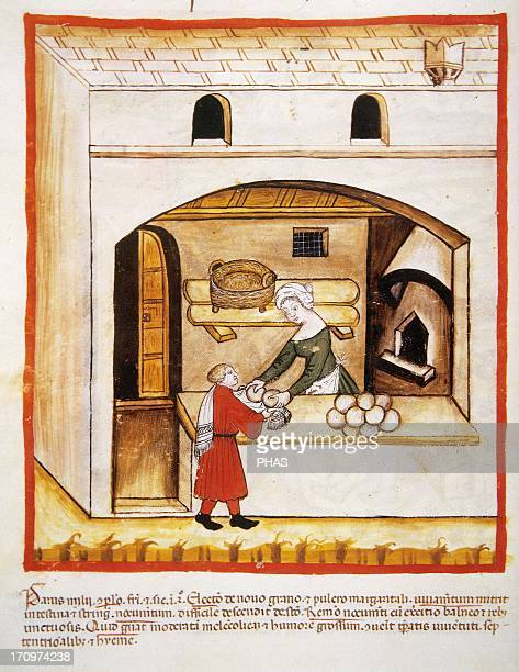 Tacuinum Sanitatis 14th century Medieval handbook of health Establishment Selling millet bread Miniature Fol 64v