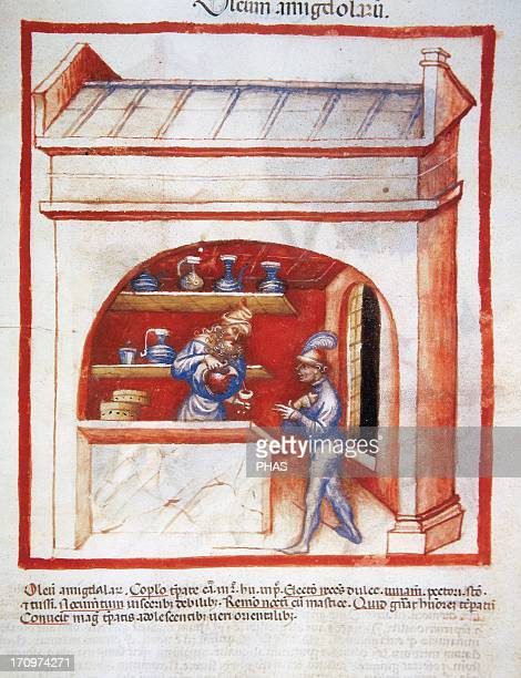 Tacuinum Sanitatis 14th century Medieval handbook of health The apothecary sells almond oil to a man with chest pain Folio 91r