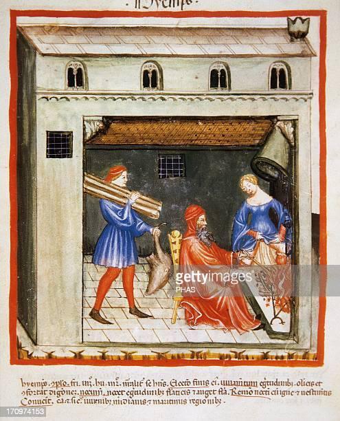 Tacuinum Sanitatis 14th century Medieval handbook of health Winter Fireplace Miniature Fol 55r