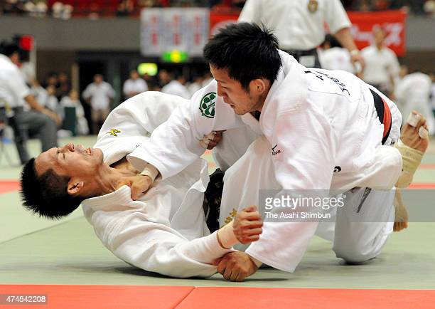 Tadahiro Nomura and Takeshi Ogawa compete in the Men's 60kg quarter final of the All Japan Industrial Individual Judo Championships on August 27 2011...