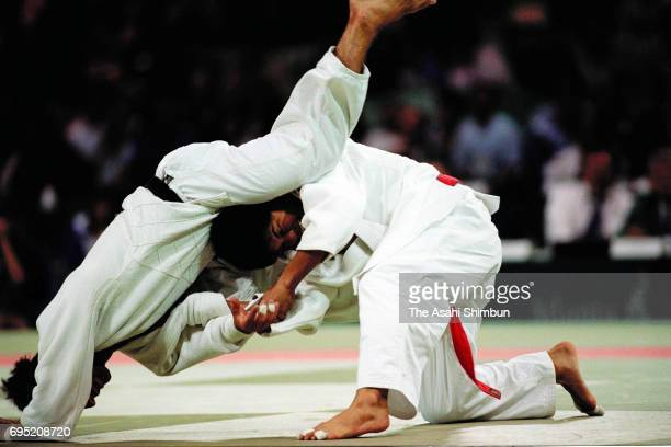 Tadahiro Nomura of Japan competes in the Judo Men's 60kg during the Atlanta Summer Olympic Games at the Georgia World Congress Center on July 26 1996...