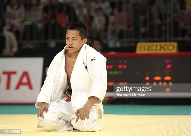 Tadahiro Nomura reacts after defeated by Daisuke Asano in the Men's 60kg semifinal during day one of the All Japan Judo Championships by Weight...