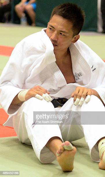 Tadahiro Nomura reacts after his defeat in the Men's 60kg third round against Ryudo Tsubaki during the All Japan Businessmen Judo Championships at...