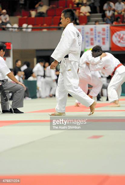 Tadahiro Nomura reacts after losing in the Men's 60kg quarter final of the All Japan Industrial Individual Judo Championships on August 27 2011 in...