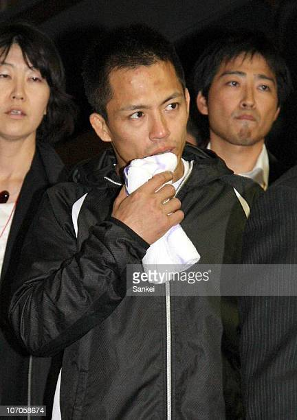 Tadahiro Nomura shows his dejection after losing in the second round of the Men's 60kg during the Kodokan Cup Judo at Chiba Port Arena on November 21...