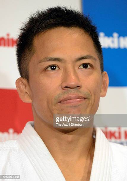 Tadahiro Nomura tears up during a press conference after his defeat in the Men's 60kg third round during the All Japan Businessmen Judo Championships...