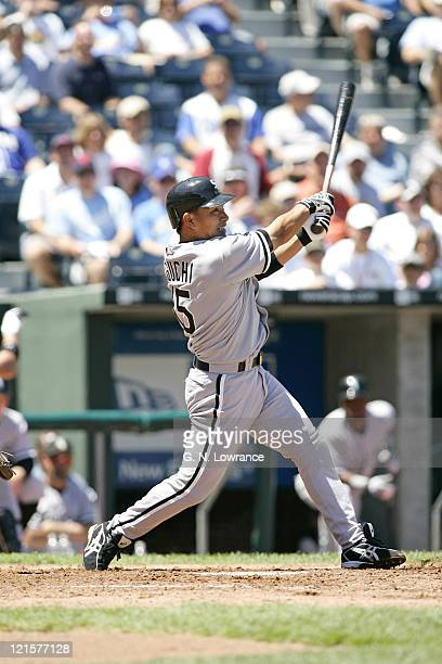 Tadahito Iguchi of the Chicago White Sox at the plate against the Kansas City Royals at Kauffman Stadium in Kansas City, Mo. On July 27, 2005. The...